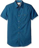 Calvin Klein Men's Mini Dobby Stripe Short Sleeve Button Down Shirt