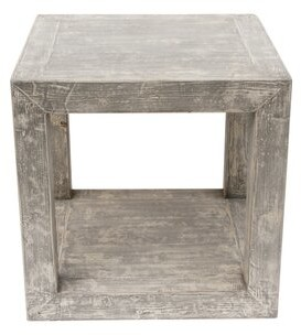 Thumbnail for your product : World Menagerie Leyton Solid Wood Block End Table