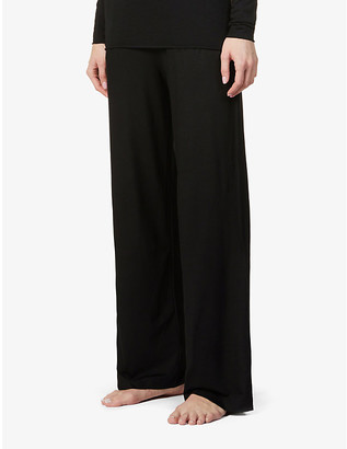 Derek Rose Relaxed wide-leg high-rise stretch-woven trousers