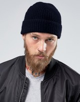 Asos Fisherman Cashmere Beanie In Navy