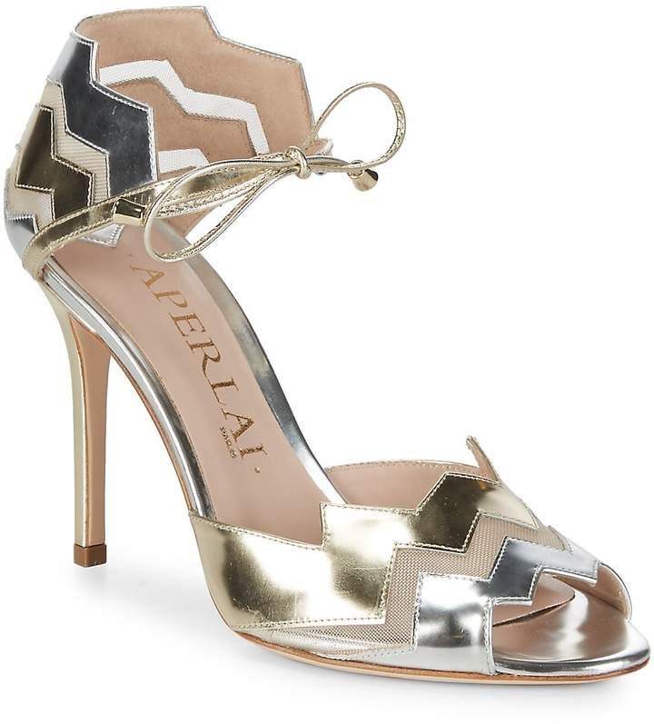 Aperlaï Women's Two-Tone Metallic Zigzag Heels