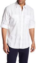 James Campbell Catasa Long Sleeve Solid Plaid Regular Fit Woven Shirt