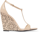 Burberry Laser-cut leather wedge sandals