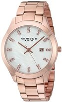 Akribos XXIV Women's Rose-Tone Case with Genuine Swarovski Crystals and White Mother-of-Pearl Dial on Rose-Tone Stainless Steel Bracelet Watch AK954RG