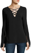 Ramy Brook Allie Lace-Up Long-Sleeve Top, Black