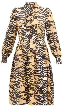 Shrimps Eros Tiger-print Pussy-bow Silk-blend Midi Dress - Brown Multi