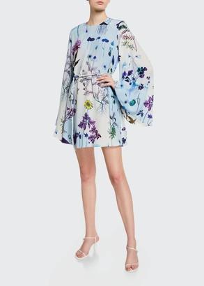 Stella McCartney Floral Print Silk Bell-Sleeve Mini Dress