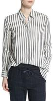 Brunello Cucinelli Button-Front Striped Shirt, Onyx