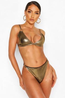 boohoo Metallic Ring Detail Triangle Bikini