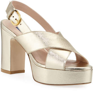 Stuart Weitzman Jerry Metallic Leather Cross-Strap Sandals