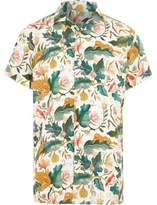 River Island Boys cream leaf short sleeve revere shirt