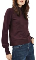 Topshop Women's Blouson Sleeve Mock Neck Sweater