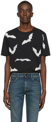 Saint Laurent Black Bat Print T-Shirt