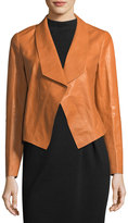 Lafayette 148 New York Leah Glazed Leather Cropped Jacket