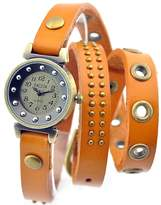 Sinceda Retro Watch Punk Wrap Around Genuine Leather Bracelet Women's Wrist Watch Rivet Strap