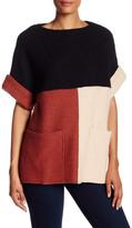 Cullen Wool Blend Colorblock Short Sleeve Tunic
