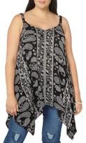 Evans Plus Size Women's Floral Paisley Handkerchief Hem Camisole