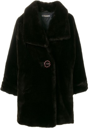 Issey Miyake Pre Owned Faux-Fur Oversize Coat