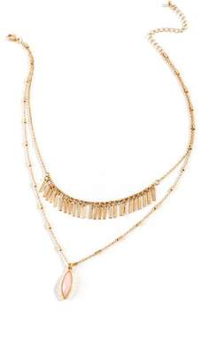francesca's Alli Fringe Layered Necklace in Pink - Blush