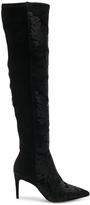 Alexandre Birman Velvet Regina Boots in Black,Floral.