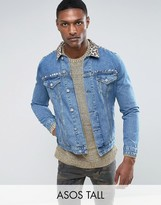 Asos TALL Denim Jacket with Leopard Print Collar and Stud Detail in Blue Wash