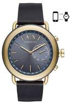 Armani Exchange Luca Aix Hybrid Stainless Steel and Leather-Strap Smartwatch