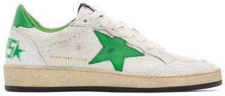 Golden Goose White and Green Ball Star Sneakers