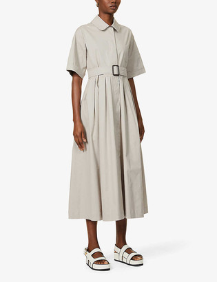 S Max Mara Sasia tie-belt stretch-cotton midi dress