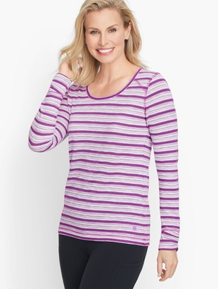 Talbots Ruched Long Sleeve Stripe Tee