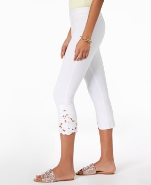 INC International Concepts Inc Cropped Lace-Contrast Capri Pants, Created for Macy's