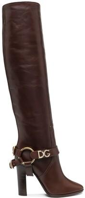 Dolce & Gabbana Logo-Embellished Knee Boots