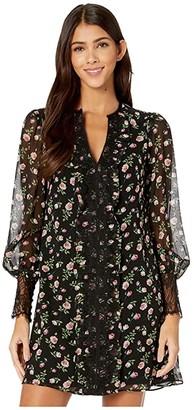 Nanette Lepore Rose Chiffon Dress (Black Multi) Women's Clothing