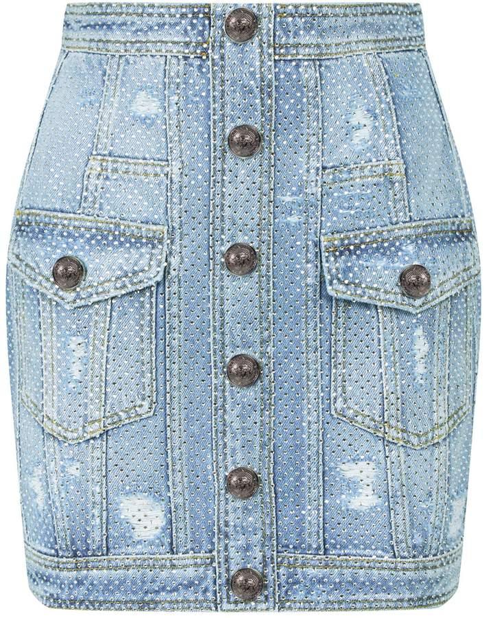 095e914576 Balmain Denim Skirt - ShopStyle UK