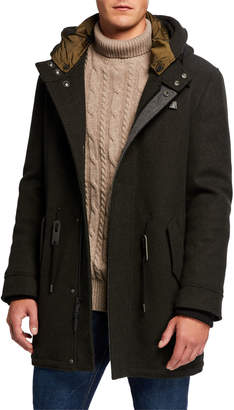 Cole Haan Men's Hooded Stretch-Wool Parka Coat