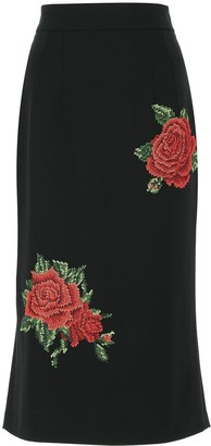 Dolce & Gabbana Rose Embroidery Pencil Skirt