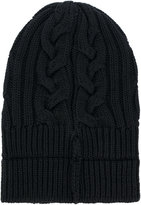 Versace cable-knit beanie hat - men - Calf Leather/Wool - One Size