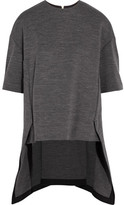 Marni Asymmetric Wool-blend Jersey Top - Gray