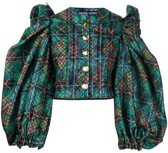 Chopova Lowena Puff-Sleeve Checked Blouse