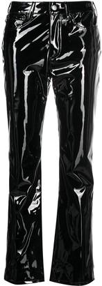 Simon Miller Vegan Patent Leather Straight-Leg Trousers