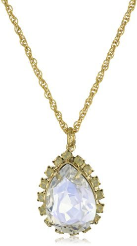 "Liz Palacios Crystales Opalos"" Crystal Teardrop Long Chain Necklace"