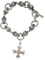 Konstantino Two-Tone Pearl Cross Charm Bracelet