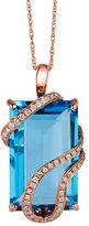 LeVian 14k Strawberry Gold Vanilla Diamond and Ocean Blue Topaz Pendant Necklace, 0.20 TCW