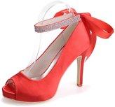Monie Women's Rhinestones Bridal Bridesmaid Dress Strappy Shoes for Wedding Ribbon Tie Peep Toe Pumps 7B US