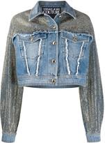 Versace studded frayed detail jacket