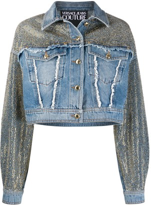 Versace Jeans Couture Studded Frayed Detail Jacket