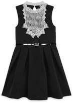 Knitworks Knit Works Black Sleeveless White Lace Bib Skater Dress - Girls' 7-16