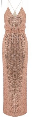 Badgley Mischka Wrap-effect Sequined Tulle Gown