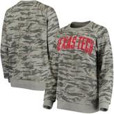 Unbranded Women's Pressbox Camo Texas Tech Red Raiders Gulfport Applique French Terry Crew Neck Sweatshirt