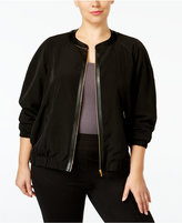 Calvin Klein Plus Size Faux-Leather-Trim Bomber Jacket