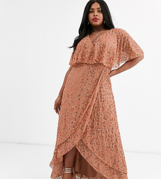 Asos DESIGN Curve maxi dress with cape back and dip hem in scatter sequin